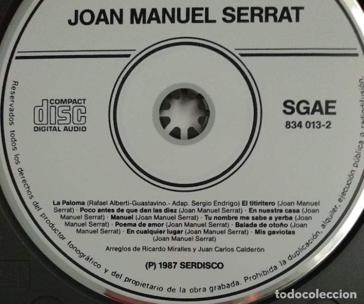 CDs de Música: 1° edición sin código de barras / JOAN MANUEL SERRAT 1987 CD impecable - LA PALOMA, EL TITIRITERO - Foto 3 - 263194320