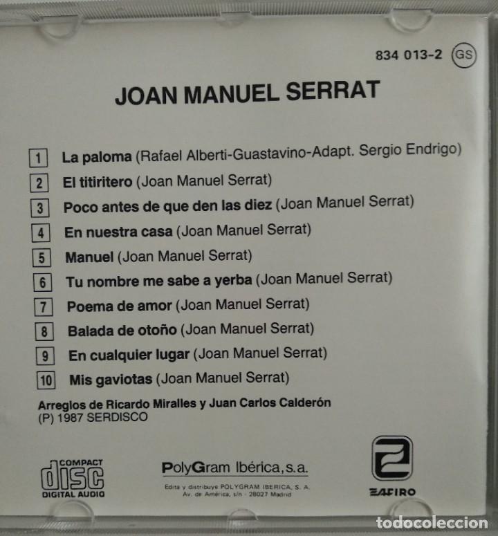 CDs de Música: 1° edición sin código de barras / JOAN MANUEL SERRAT 1987 CD impecable - LA PALOMA, EL TITIRITERO - Foto 4 - 263194320