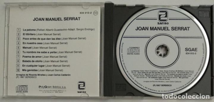 CDs de Música: 1° edición sin código de barras / JOAN MANUEL SERRAT 1987 CD impecable - LA PALOMA, EL TITIRITERO - Foto 5 - 263194320