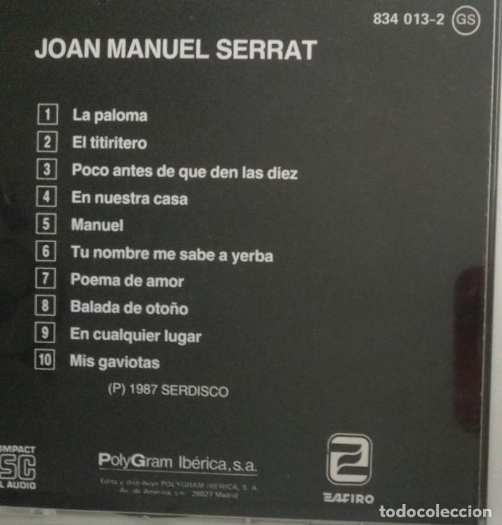 CDs de Música: 1° edición sin código de barras / JOAN MANUEL SERRAT 1987 CD impecable - LA PALOMA, EL TITIRITERO - Foto 6 - 263194320