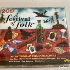 CDs de Música: A FESTIVAL OF FOLK. DOBLE CD IMPORTADO IRLANDA.. Lote 265952858