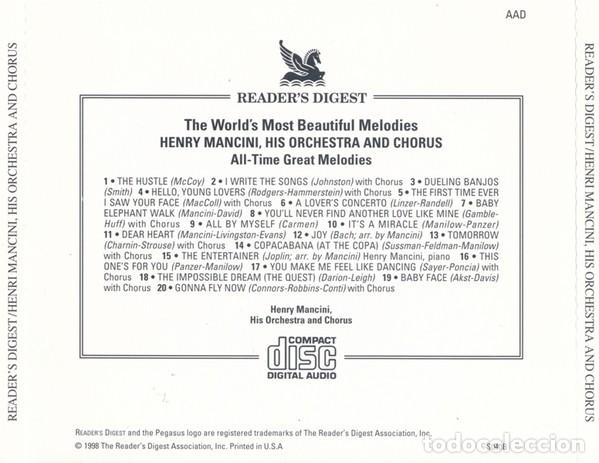 CDs de Música: HENRY MANCINI HIS ORCHESTRA & CHORUS - ALL-TIME GREAT MELODIES - Foto 2 - 267845924