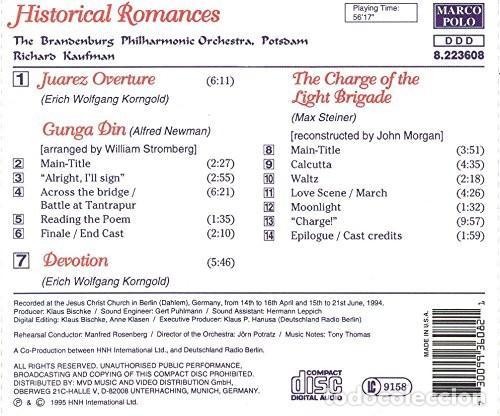 CDs de Música: HISTORICAL ROMANCES / Max Steiner, Erich W. Korngold, Alfred Newman CD BSO - Foto 2 - 267848129