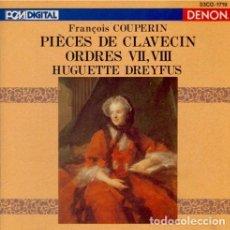 CDs de Música: HUGUETTE DREYFUS - COUPERIN - PIÈCES DE CLAVECIN, ORDRES VII & VIII (CD, ALBUM) (DENON) ED. JAPONESA. Lote 268142474