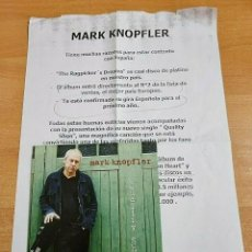 CDs de Música: MARK KNOPFLER QUALITY SHOE CD SINGLE PROMO ESPAÑA DEL AÑO 2002 CON HOJA DE PRENSA DIRE STRAITS. Lote 268993484