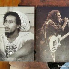 CDs de Música: DOS FOTOGRAFIAS DE BOB MARLEY ENMARCADAS SOBRE LIENZO 30X40 CM. Lote 269063293