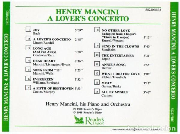 CDs de Música: HENRY MANCINI, HIS PIANO AND ORCHESTRA - A LOVERS CONCERTO - Foto 2 - 269174368