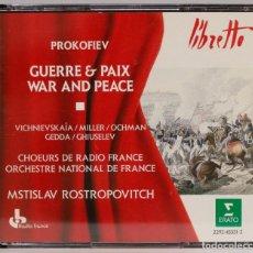 CDs de Música: 4 CD. PROKOFIEV. GUERRE ET PAIX. PROKOFIEV. ROSTROPOVICH. Lote 271659923