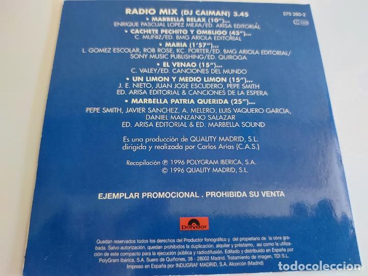 CDs de Música: MARBELLA MIX / RADIO MIX (DJ CAIMAN) / PROMO CD-POLYDOR-1996 / 6 TEMAS / IMPECABLE. - Foto 2 - 271825203