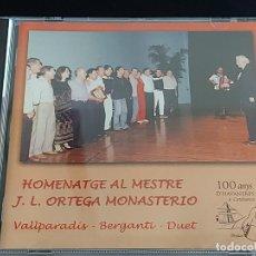CDs de Música: BERGANTÍ DUET / HOMENATGE AL MESTRE J.L. ORTEGA MONASTERIO / VALLPARADÍS / 2002 / 16 TEMAS / LUJO.. Lote 274914428