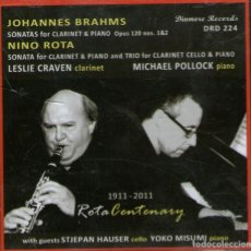 CDs de Música: JOHANNES BRAHMS - SONATAS FOR CLARINET - NINO ROTA (CLARINETE) - DINMORE 2011 - CD PRECINTADO. Lote 275062568