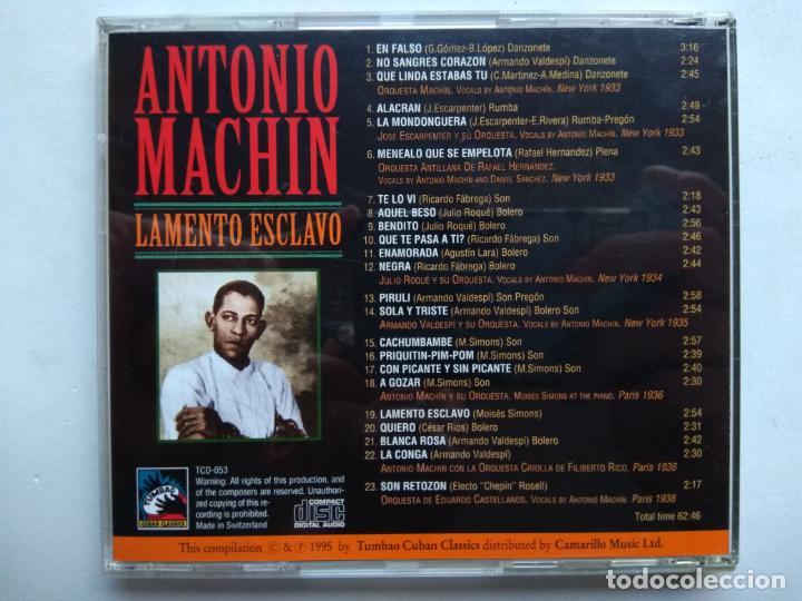 CDs de Música: ANTONIO MACHÍN. LAMENTO ESCLAVO. CD TUMBAO TCD-053. EU 1995. ARMANDO VALDESPÍ. JULIO ROQUÉ. - Foto 4 - 277175693