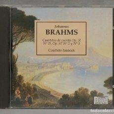 CDs de Música: CD. BRAHMS. CUARTETOS DE CUERDA OP 51. N 21. OP 67 N 2 Y 3. JANACEK. Lote 277188693
