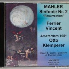 CDs de Música: CD. MAHLER. SINFONIE N 2. AMSTERDAM 1951. KLEMPERER. Lote 277289303