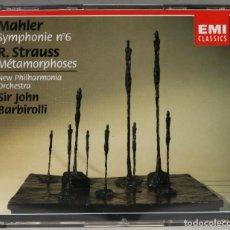 CDs de Música: 2 CD. MAHLER. SYMPHONIE NO. 6. STRAUSS. MÉTAMORPHOSES. BARBIROLLI. Lote 277289398