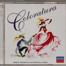 CDs de Musique: 2 CD. COLORATURA. MANUAL SONORO DE LAS VOCES DE LA OPERA. Lote 277533888