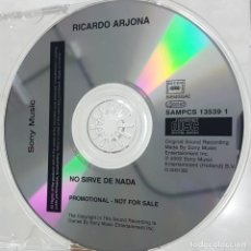 CDs de Música: RICARDO ARJONA - NO SIRVE DE NADA - CD PROMOCIONAL - SONY MUSIC 2002. Lote 278233208