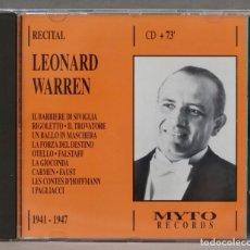 CDs de Música: CD. LEONARD WARREN. RECITAL. Lote 278624133