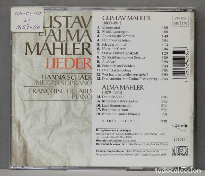 CDs de Música: CD. GUSTAV ET ALMA MAHLER. LIEDER. SCHAER. TILLIARD - Foto 2 - 278625103