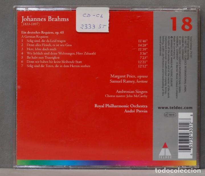 CDs de Música: CD. Ein Deutsches Requiem. BRAHMS. PREVIN - Foto 2 - 278627713