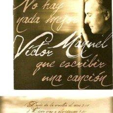 CDs de Música: CD VICTOR MANUEL NO HAY NADA MEJOR QUE ESCRIBIR UNA CANCION. Lote 280005658