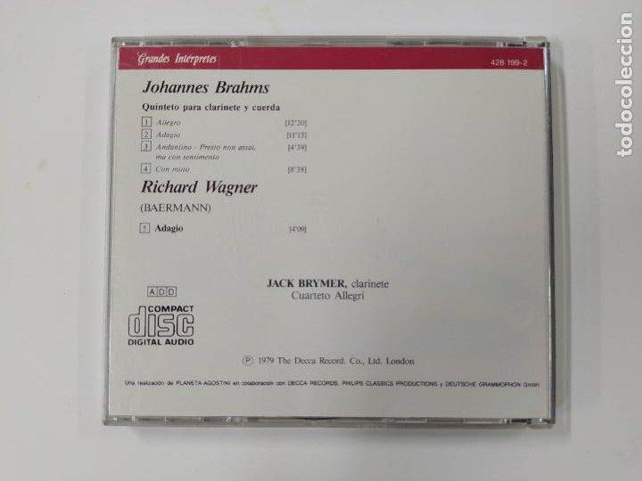 CDs de Música: GRANDES INTERPRETES BRYMER. BRAHMS. QUINTETO PARA CLARINETE. WAGNER. ADAGIO. CD. TDKCD46 - Foto 3 - 287326433