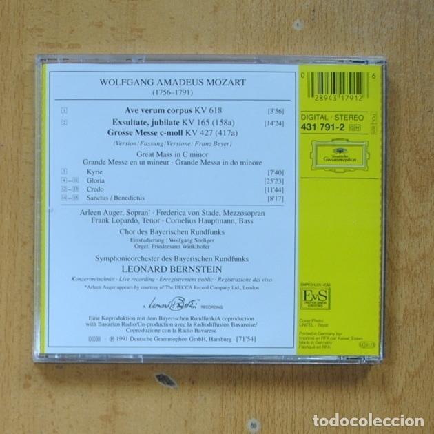CDs de Música: LEONARD BERNSTEIN - MOZART GROSSE MESSE C MOLL KV 427 - CD - Foto 2 - 287731903