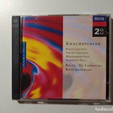 CDs de Música: KHACHATURIAN. PIANO VIOLIN CONCERTO. RICCI DE LARROCHA. DOBLE CD. DECCA. TDKCD55. Lote 288007818