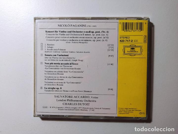 CDs de Música: PAGANINI. VIOLINKONZERT NO. 6. VIOLIN CONCERTO. SALVATORE ACCARDO. CD DEUTSCHE GRAMMOPHON. TDKCD56 - Foto 3 - 288014723
