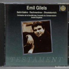 CDs de Música: CD. CLUYTENS. SAINT-SAËNS. RACHMANINOV. SHOSTAKOVICH. GILELS. Lote 288152558