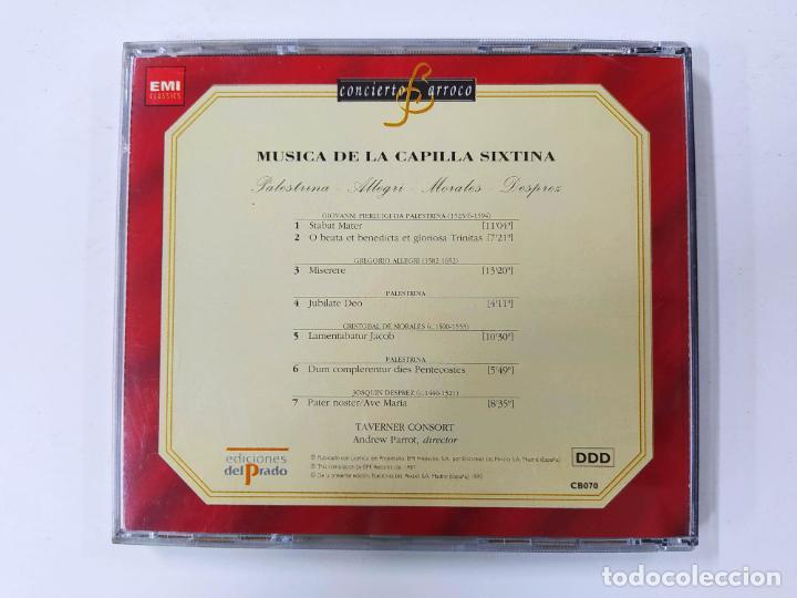 CDs de Música: CONCIERTO BARROCO. MUSICA DE LA CAPILLA SIXTINA. PALESTRINA. ALLEGRI. MORALES. DESPREZ. CD. TDKCD61 - Foto 3 - 288201268