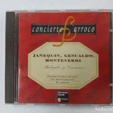 CDs de Música: CONCIERTO BARROCO. JANEQUIN, GESUALDO, MONTEVERDI. MADRIGALES Y CANCIONES. CD. TDKCD61. Lote 288202358