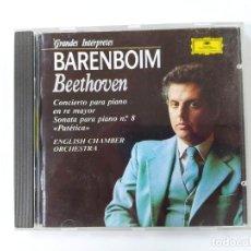 CDs de Música: GRANDES INTERPRETES. BARENBOIM. BEETHOVEN. CONCIERTO PARA PIANO. DEUTSCHE GRAMMOPHON CD.TDKCD62. Lote 288206963