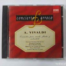 CDs de Música: CONCIERTO BARROCO - A. VIVALDI. CONCIERTOS PARA CUERDA, FLAUTA Y VIOLONCHELO. CD. TDKCD63. Lote 288212903