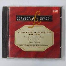 CDs de Música: CONCIERTO BARROCOM - MUSICA VOCAL ESPAÑOLA ANTIGUA. - CD. TDKCD63. Lote 288214543