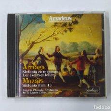 CDs de Música: JUAN CRISOSTOMO ARRIAGA: SINFONIA EN RE MENOR. MOZART: SINFONIA N0. 13. AMADEUS. CD. TDKCD75. Lote 289214503