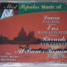 CDs de Música: CD- LAURA PAUSINI, EROS RAMAZZOTI, RICCARDO COCCIANTE, ALBANO & ROMINA POWER - THE VELVET SOUND O. Lote 289402498