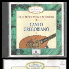 CDs de Música: D. CD. CANTO GREGORIANO, DE LA MUSICA ANTIGUA AL BARROCO.. Lote 289443373