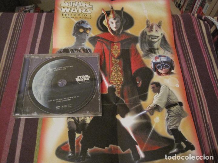 CDs de Música: CD STAR WARS LA AMENAZA FANTASMA JOHN WILLIAMS + CARATULA DESPLEGABLE EN MINI POSTER BANDA SONORA - Foto 2 - 289671118