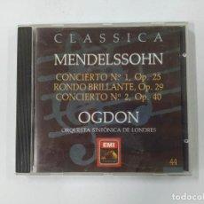 CDs de Música: MENDELSSOHN. CONCIERTO Nº 1 OP. 25. OGDON. ORQUESTA SINFONICA LONDRES. CLASSICA Nº 44. CD. TDKCD85. Lote 289884548