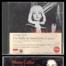 CDs de Música: D. CD. MARIA CALLAS. UN BALLO IN MASCHERA.. Lote 289887798