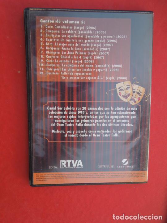 CDs de Música: LOS Nº 1 DEL CARNAVAL DE CADIZ - VOLUMEN 5 - 2006-2008- DVD VER CARATULA PARA EL CONTENIDO - Foto 2 - 289890828