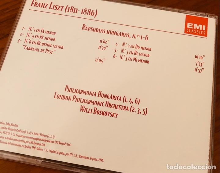 CDs de Música: Liszt - Rapsodias hungaras - LPO - Bokovsky - EMI - Foto 2 - 289905443
