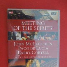 CDs de Música: PACO DE LUCIA , JOHN MCLAUGHLIN , LARRY CORYELL , MEETIN OF THE SPIRITS -DVD. Lote 295355093