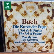 CDs de Música: BACH - DIE KUNST DER FUGE (TON KOOPMAN, TINI MATHOT) (CD, ALBUM) ERATO. Lote 295631293