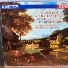 CDs de Música: ANDRÁS ADORJÁN, HUGUETTE DREYFUS, C.P.E BACH - 4 SONATAS FOR FLUTE AND HARPSICHORD (CD, ALBUM). Lote 295640328