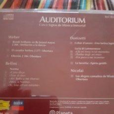 CDs de Música: WEBER, BELLINI, DOMIZETTI, NICOLAI: OBRAS SELECCIONADAS. COLECCION AUDITORIUM. Lote 295996463