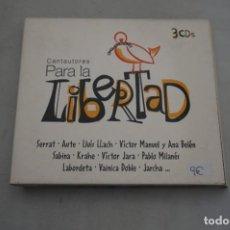 CDs de Música: CD - CANTAUTORES - PARA LA LIBERTAD - VARIOS ARTISTAS - TRIPLE CD. Lote 297097023