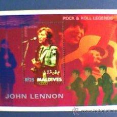 Música de colección: SELLO MALDIVES JOHN LENNON BEATLES. Lote 26951884