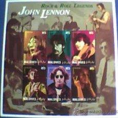 Música de colección: SELLOS MALDIVES JOHN LENNON BEATLES. Lote 26978830